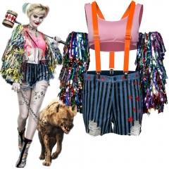 Birds of Prey Harley Quinn Wings Jacket Female Joker Cosplay Outfits Suspenders