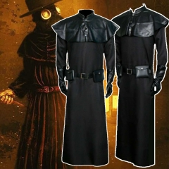 Adult Plague Doctor Halloween Cosplay Costume Medieval Steampunk Black Robe