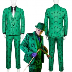 Adult Riddler Edward Nigma Nashton Cosplay Costume Men Halloween Uniform