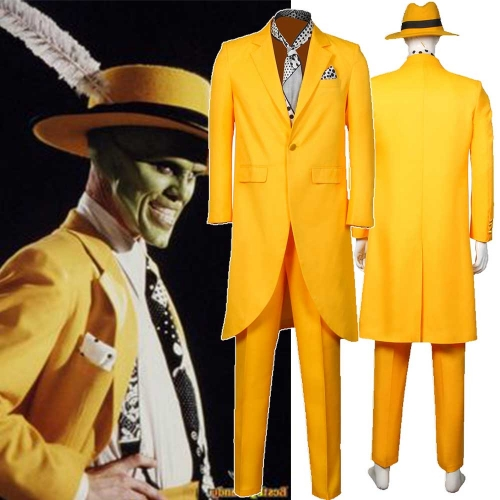 The Mask Jim Carrey Men Halloween Cosplay Costume with Hat