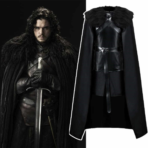 Game of Thrones Season 8 Jon Snow Halloween Cosplay Costume With Cloak Outfit Fur Coat