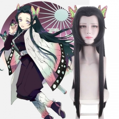 Kochou Kanae Long Brown Costume Wig With Butterfly Hair Clips Demon Slayer Kimetsu no Yaiba