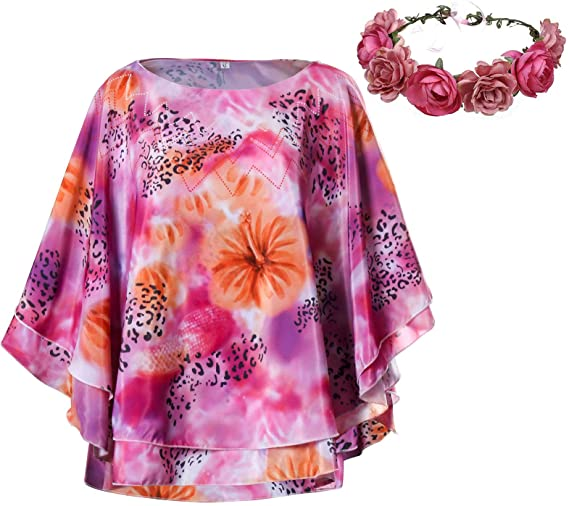 Carole Baskin Costume Shirt for Women Joe Exotic Dolman Wide Elegant Cape Cloak Sleeve with Flower Garland Outfit-Takerlama