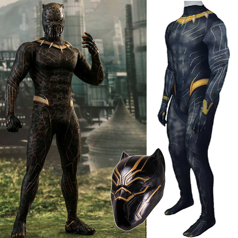 Black Panther T'Challa Superhero Halloween Cosplay Costume Zentai Suit With Latex Mask Halloween Carnival Masquerade -Takerlama