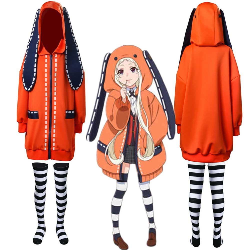 Kids Kakegurui Yomoduki Runa Bunny Cosplay Costume Hoodie ...