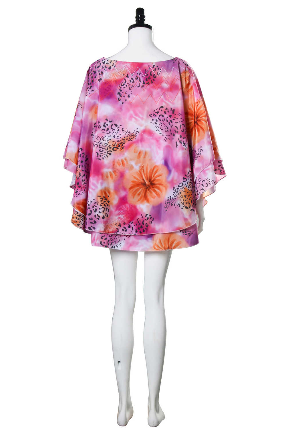 Carole Baskin Costume Shirt for Women Joe Exotic Dolman Wide Elegant Cape Cloak Sleeve with Flower Garland Outfit