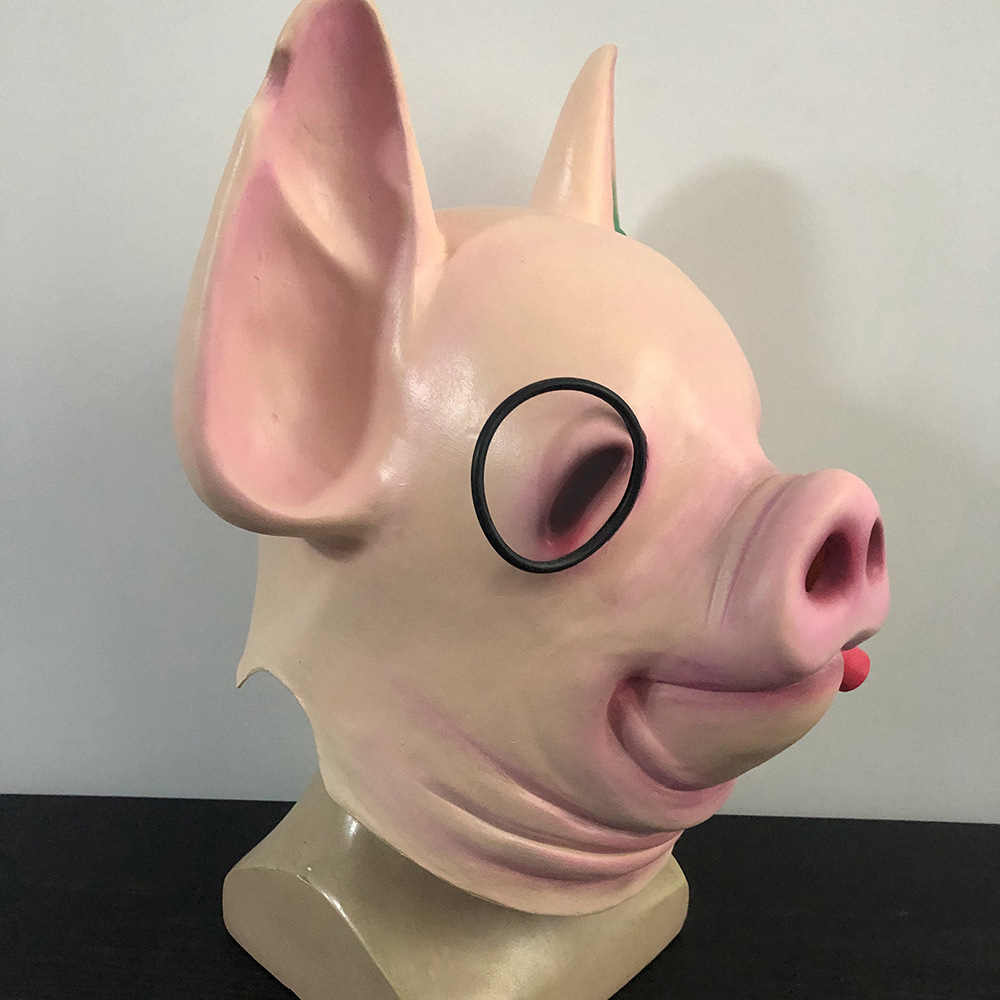 Game Watch Dogs Legion Pig Head Mask latex Halloween Costume Party Cosplay animal props Carnival-Takerlama