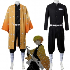 Adults Zenitsu Agatsuma Cosplay Costume Demon Slayer: Kimetsu no Yaiba