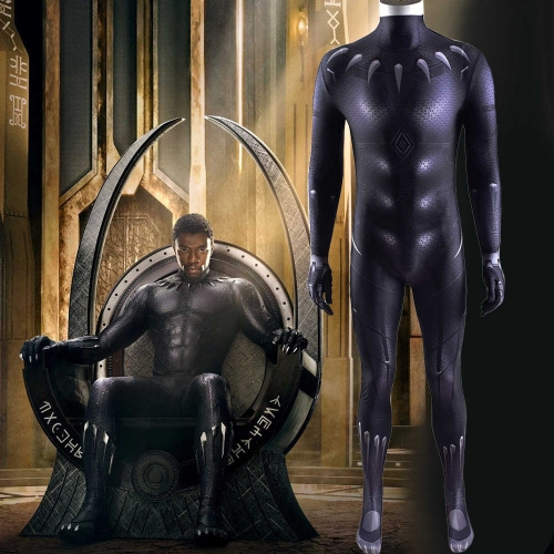 Black Panther T'Challa Halloween Cosplay Costume Men Kids