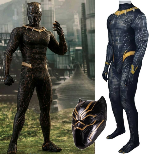Gold Black Panther T'Challa Halloween Cosplay Costume With Latex Mask