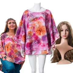 Carole Baskin Costume Tiger King  Floral Halloween Shirt Flower Garland Wig