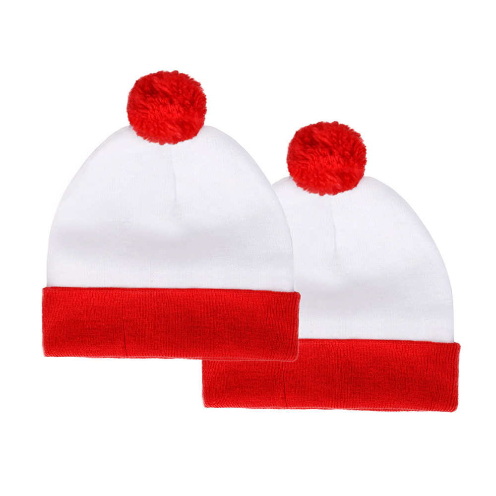 Where's Wally Waldo 2 Pack Pom Pom Cuff Beanie Hats Christmas Gifts-Takerlama