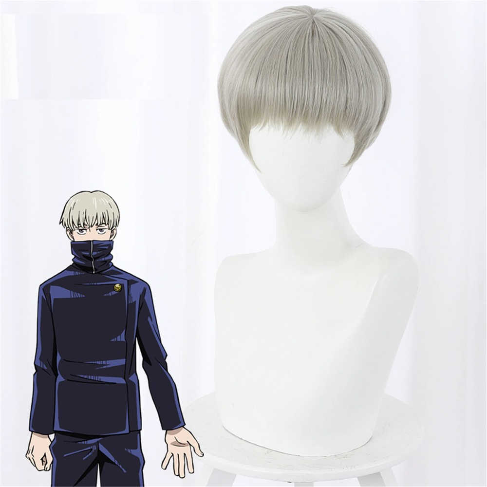 Anime Jujutsu Kaisen Cosplay Toge Inumaki Hair Role Play Costume Wigs with Free Cap -Takerlama