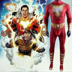 Movie Shazam Billy Batson Costume Captain Marvel Superhero Cosplay Jumpsuit