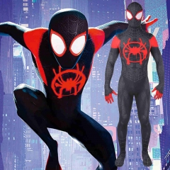 Black Spiderman Miles Morales Halloween Cosplay Costume Adults Kids