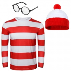 Where's Wally Waldo Adult Cosplay Costume-Takerlama