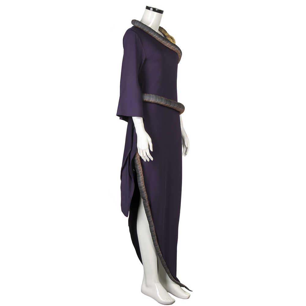 Adult The Witches Grand High Witch Anne Hathaway Purple Long Dress With Snake Replica-Takerlama