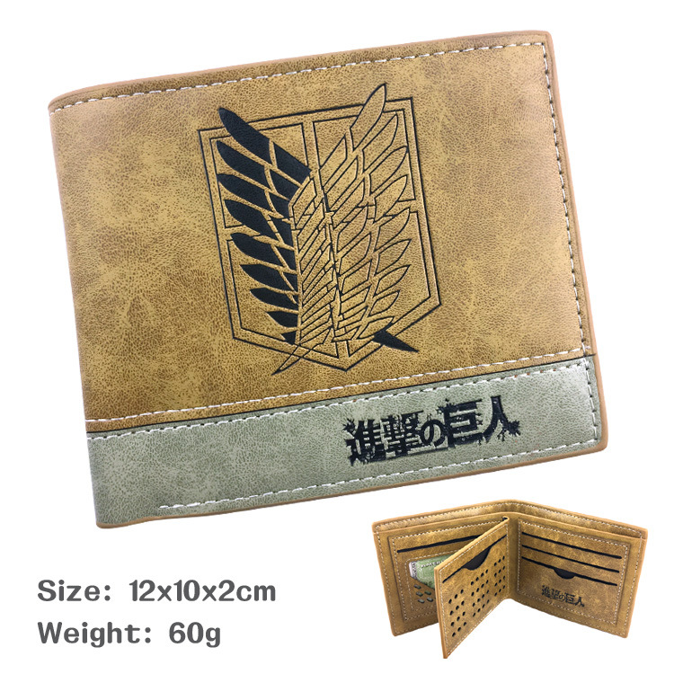 Anime Attack on Titan Black PU Leather Wallet Shingeki No Kyojin Survey Corps Purse-Takerlama