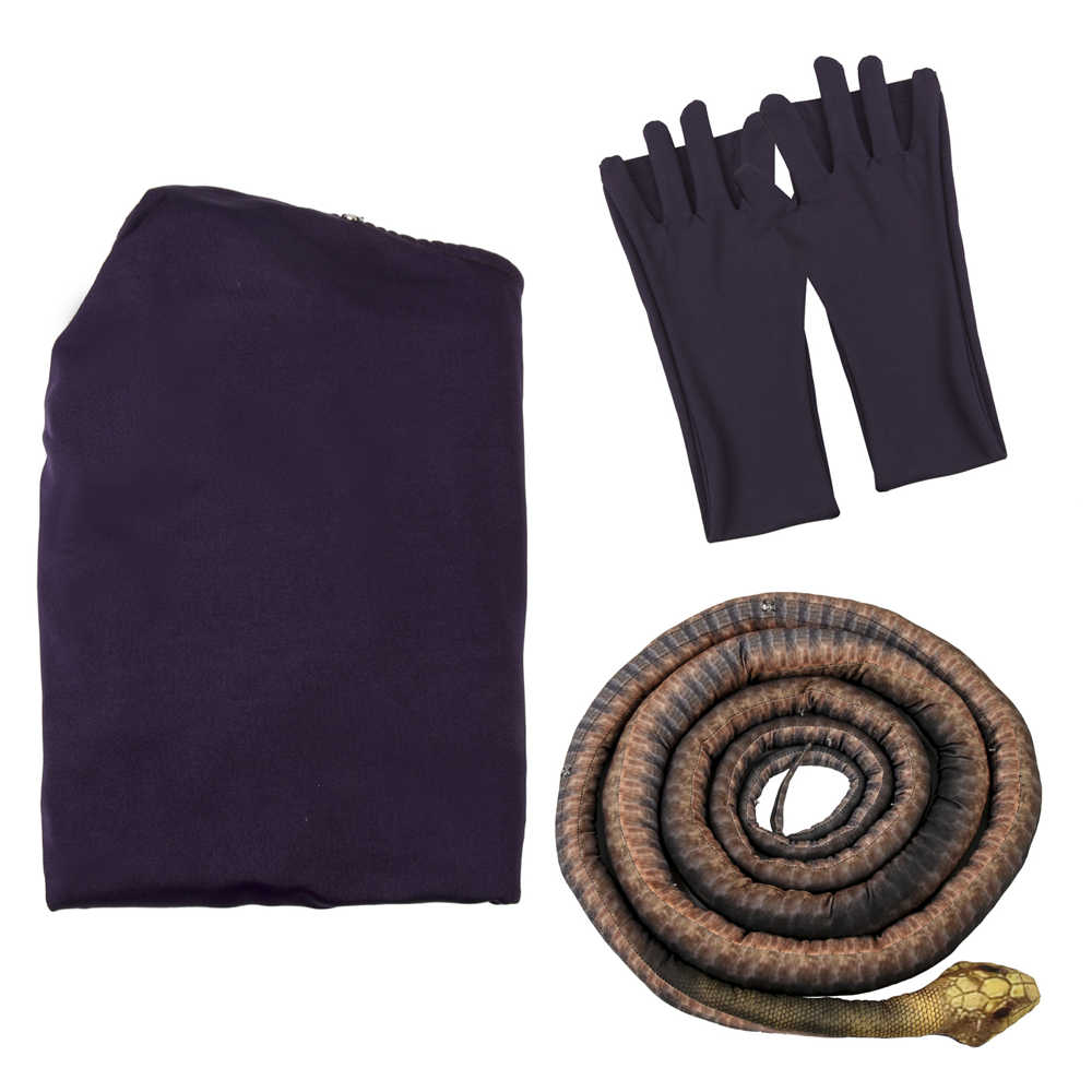 Adult The Witches Grand High Witch Anne Hathaway Purple Long Dress With Snake Replica Halloween Cosplay Costume-Takerlama