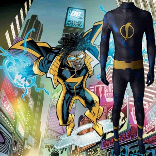 Static Shock Cosplay Costume Ovid Hawkins Teen Titans Zentai Suit Kids Adults