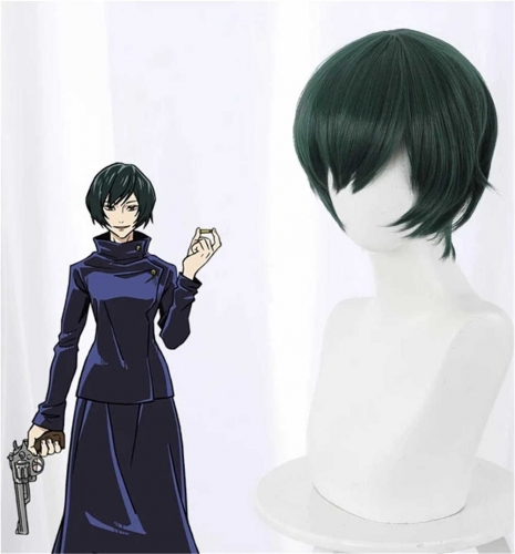 Anime Jujutsu Kaisen Zenin Mai Costume Wig Green Short Hair
