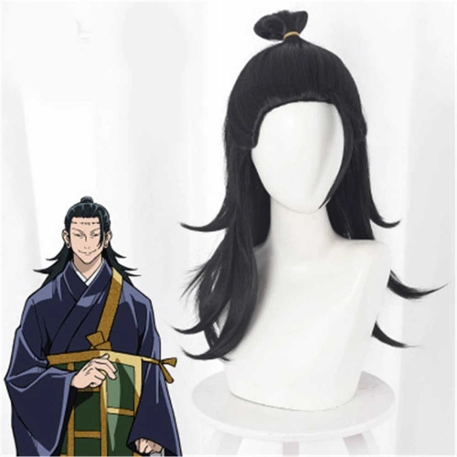 Anime Jujutsu Kaisen Getou Suguru Costume Wig Black Straight Hair