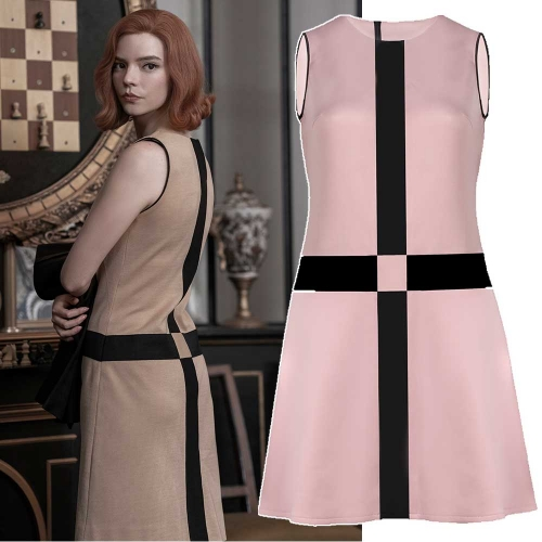 The Queen's Gambit Beth Harmon Paris Cross Pink Beige Black Dress