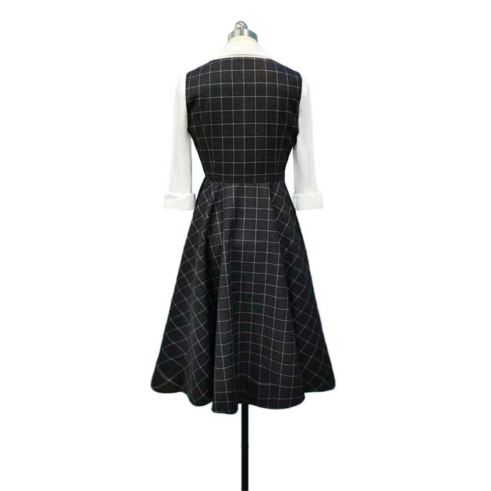 TV Series The Queen's Gambit Beth Harmon Plaid A-Line 60s Vintage Dress-Takerlama