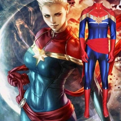 Captain Marvel Carol Danvers Zentai Suit Kids Adults