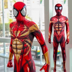 Iron Spider Suit Superhero Spiderman Costume Detachable Mask