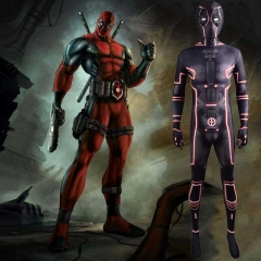 Fluorescent Deadpool Tron Legacy Cosplay Costume With Detachable Mask