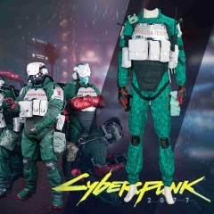 Game Cyberpunk 2077 Trauma Team Green Cosplay Costumes Adult