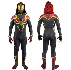 New Iron Spider Spiderman Hooded Cosplay Suit Mask Kids Adult