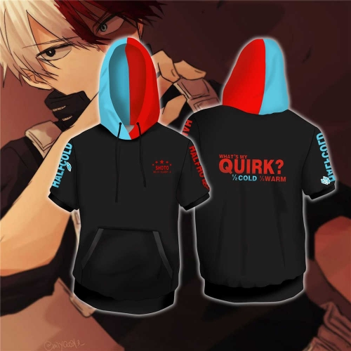 My Hero Academia Shoto Todoroki Hooded T-Shirt With Front Pocket