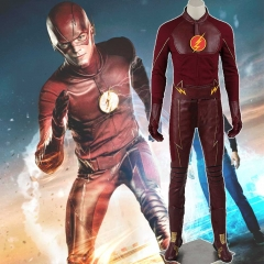 Deluxe The Flash Barry Allen Leather Cosplay Costumes With Helmet